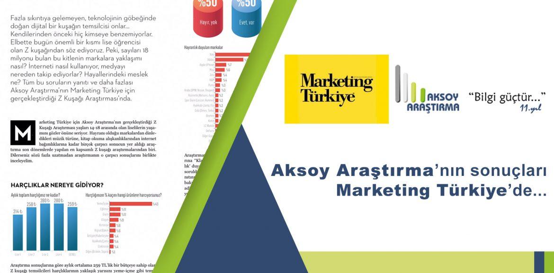 """Aksoy Araştırma """"Z Kuşağı Araştırması"""" ile Marketing Türkiye Dergisi'nde"""